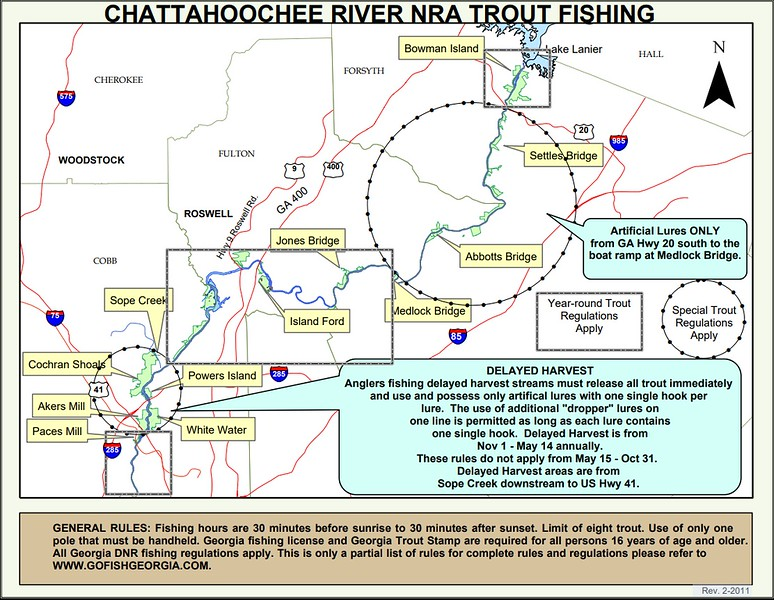 Chattahoochee River National Recreation Area (Trout Fishing Map)