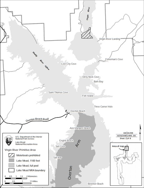 Lake Mead National Recreation Area (Virgin River Boating Restriction Map)