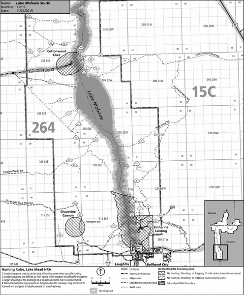 Lake Mead National Recreation Area (Lake Mojave South Hunting Map)