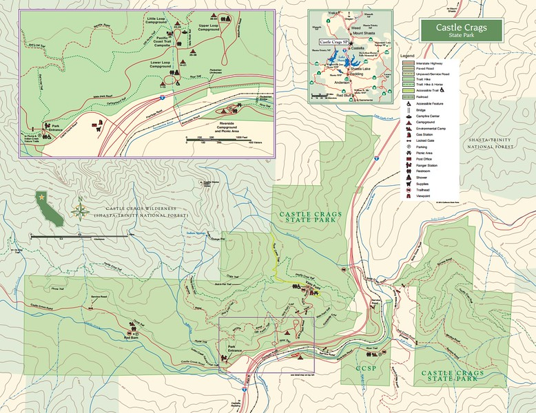 California state park maps dwhike castle crags state park publicscrutiny Image collections