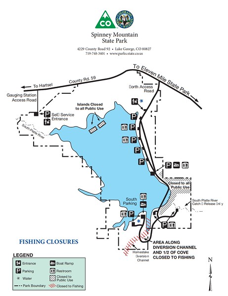 Spinney Mountain State Park (Fishing Closure Map)