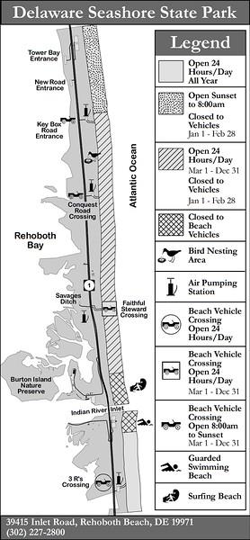 Delaware Seashore State Park (Fishing Areas Map)