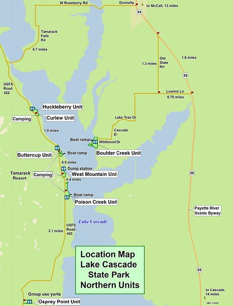 Lake Cascade State Park (Northern Units Location Map)