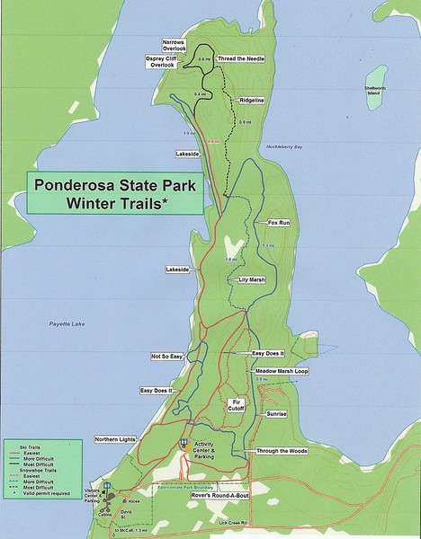 Ponderosa State Park (Winter Trail Map)