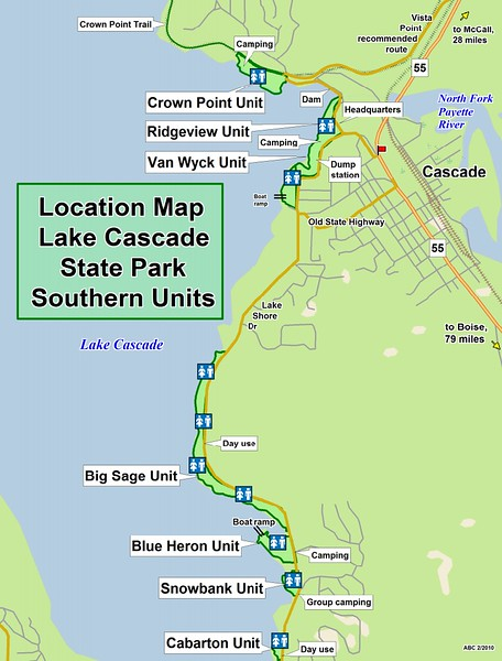 Lake Cascade State Park  (Southern Units Location Map)