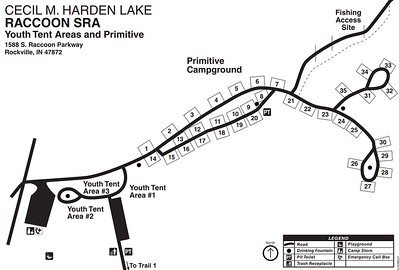 Cecil M. Harden Lake & Raccoon State Recreation Area (Primitive Campground & Youth Tent Areas)