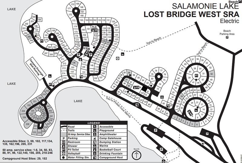 Salamonie Lake (Lost Bridge SRA Modern Campground Map)