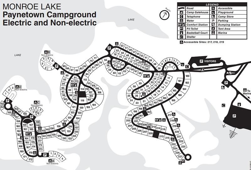 Monroe Lake (Paynetown SRA Campground Map)