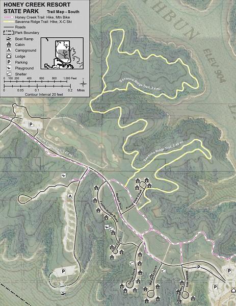 Honey Creek Resort State Park (Trail Map - South)