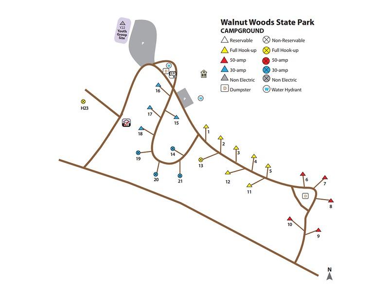 Walnut Woods State Park (Campground Map)