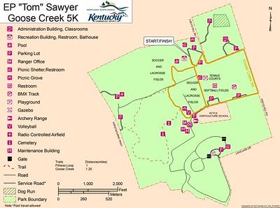 "E.P. ""Tom"" Sawyer State Park (Goose Creek 5K Map)"