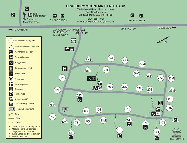Bradbury Mountain State Park (Campground Map)