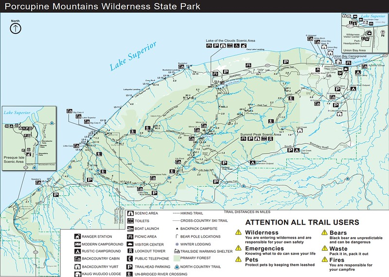 Porcupine Mountains Wilderness State Park (Backcountry Map)