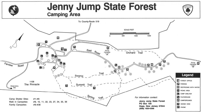 Jenny Jump State Forest (Campground Map)