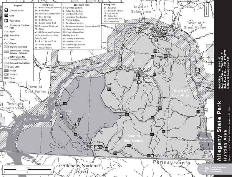 New York State Park Maps - dwhike  Z New York State Hunting Zone Map on