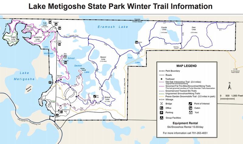 Lake Metigoshe State Park (Winter Trail Map)