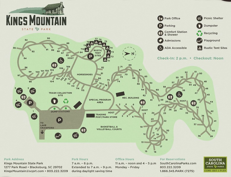 Kings Mountain State Park (Campground Map)