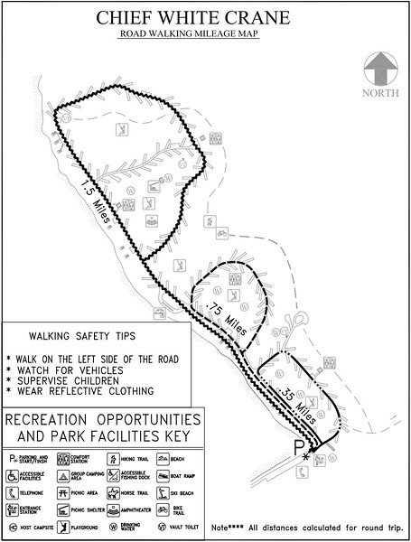Chief White Crane Recreation Area (Road Walking Map)