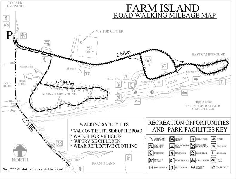 Farm Island Recreation Area (Road Walking Map)