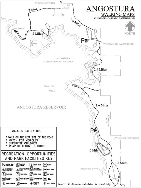 Angostura Recreation Area (Road Walking Map - Cheyenne & Cascade Campgrounds)