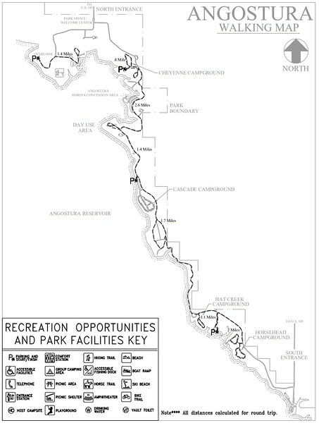 Angostura Recreation Area (Road Walking Map)