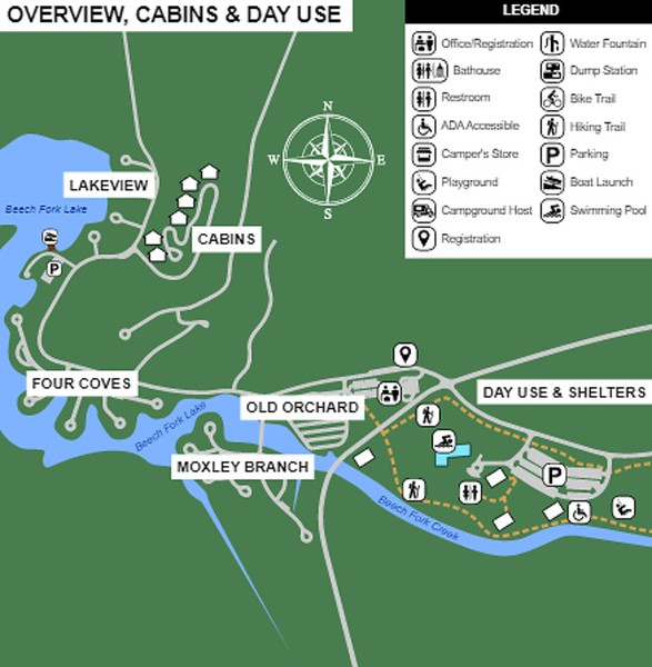 Beech Fork State Park (Lodging Overview Map)