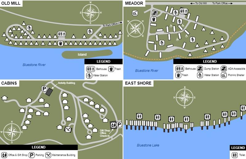 Bluestone State Park (Campground Maps)