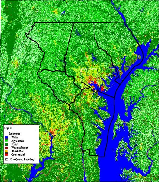 Study region of the Baltimore Ecosystem Study LTER