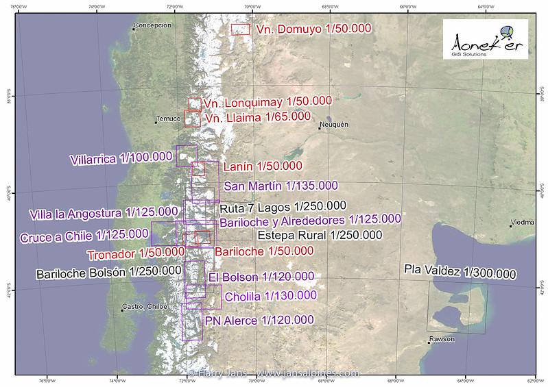 overzicht kaarten Chili-Argentina