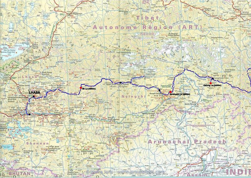 Route Chengdu - Lhasa (map 3)