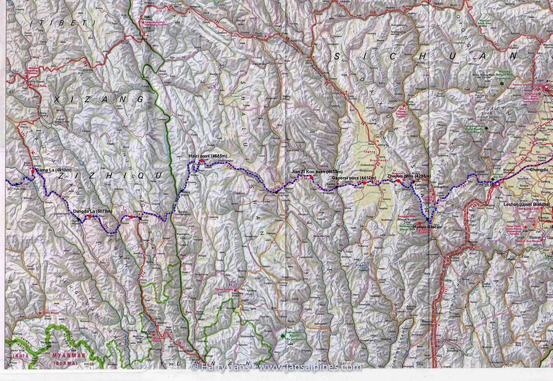 Route Chengdu - Lhasa (map 1)