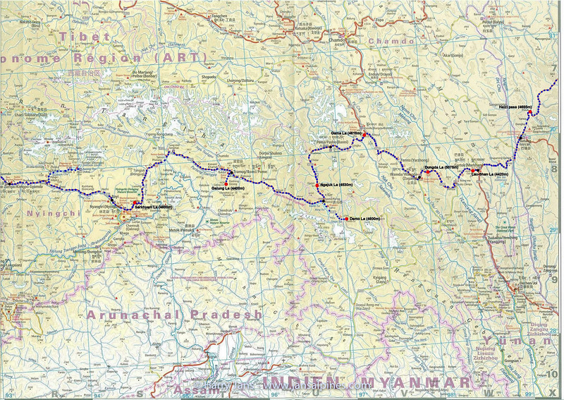 Route Chengdu - Lhasa (map 2)