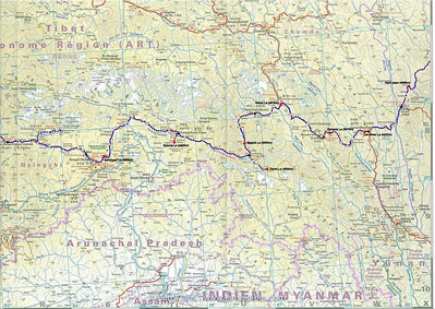 Route Chengdu - Lhasa (map 2)