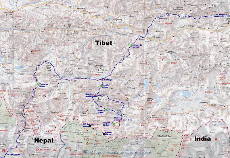 Tibet Kangshung valley. map 2