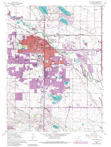 Fort Collins, Colorado  - USGS GeoTIFF DRG 1:24000 Quad of Fort Collins. Product:511214