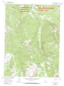 West Fork Trail, Zirkel Wilderness Area, CO - USGS GeoTIFF DRG 1:24000 Quad of West Fork Lake. Product:444956