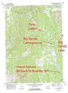 Bridger Wilderness Area, WY  Shows Big Sandy Campground and the trailhead for the trial to Big Sandy Lake.  USGS GeoTIFF DRG 1:24000 Quad of Big Sandy Opening. Product:646818