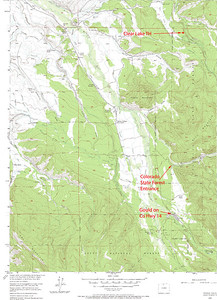 Gould, CO.  Shows Clear Lake trailhead in Colorado State Forest.