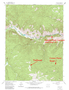 Trailhead for Crown Point and Browns Lake in the Comanche Peak Wilderness Area of Colorado.  USGS GeoTIFF DRG 1:24000 Quad of Kinikinik. Product:511188