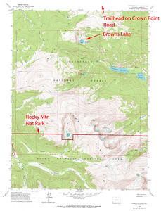 Area around Browns Lake in the Comanche Peak Wilderness Area of Colorado.  USGS GeoTIFF DRG 1:24000 Quad of Comanche Peak. Product:511209