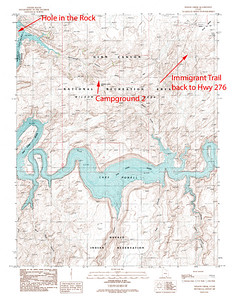 "Shows the jeep trail used to get to the Colorado River at a point directly across from ""Hole in the Rock"".  The jeep trail is based off of the old Immigrant Trail created by the Mormons.  In Utah south of Moab.  USGS GeoTIFF DRG 1:24000 Quad of Wilson Creek. Product:525947"