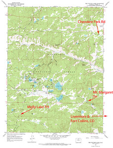 Molly Lake trailhead found close to Red Feather Lakes in Colorado.   USGS GeoTIFF DRG 1:24000 Quad of Red Feather Lakes. Product:511195
