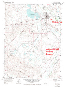Walden, Colorado townsite and surrounding area.  USGS GeoTIFF DRG 1:24000 Quad of Walden. Product:444954