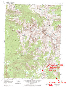 Shows the cutoff from the Lake Katherine trail that then continues up to the continental divide.  Mt. Zirkel Wilderness Area, Colorado.  USGS GeoTIFF DRG 1:24000 Quad of Mount Zirkel. Product:444937