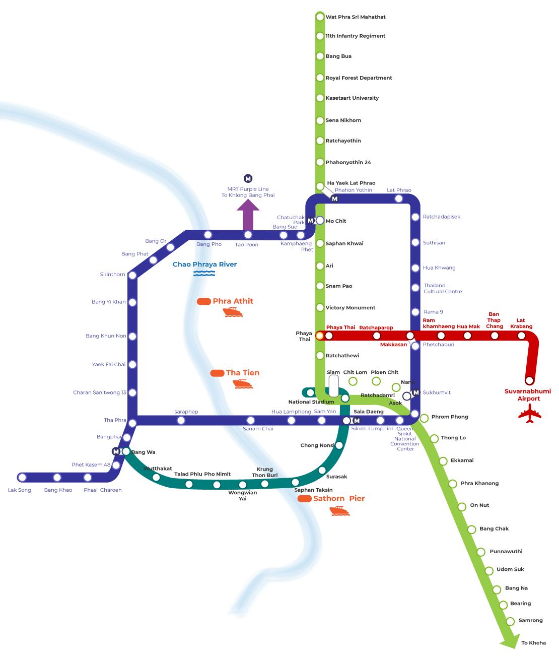 Bangkok BTS And MRT Map