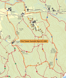 Approximately 6 Mile course starting and ending in the Meadow Parking Lot. First half is mostly uphill with a steep rocky climb coming at around the 3 mile mark. B course omits the steepest and most rustic trails on Blue.