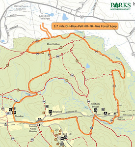 5.7 Mile Loop from Lewisboro Town Park including a bit of the Leatherman's Loop trails and also beginning of the Blue trail hill.
