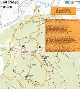 REVISED 7 mile Boxing Day Loop map (with 3.5 mile alternate route marked in pink). Starts and ends at Lewisboro Town Park.