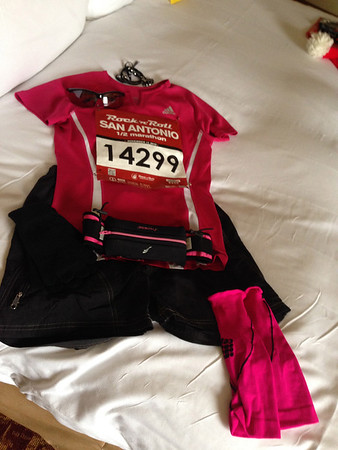Cathy's race clothing laid of for the next morning