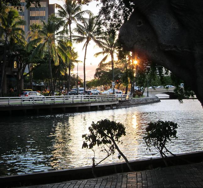 The Ala Wai canal near Kalakaua Avenue at sunset
